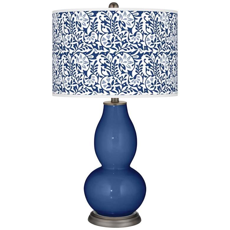 Monaco Blue Gardenia Double Gourd Table Lamp