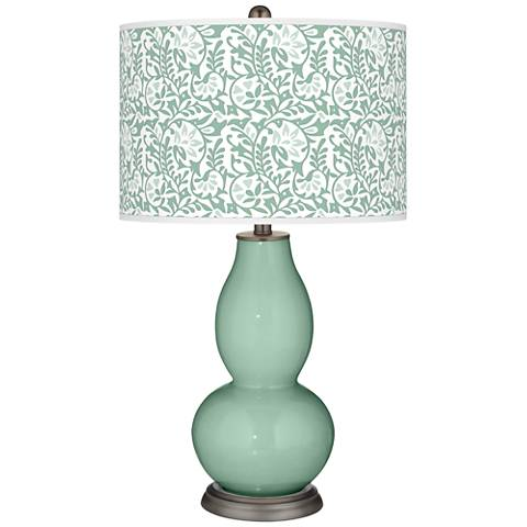 Grayed Jade Gardenia Double Gourd Table Lamp