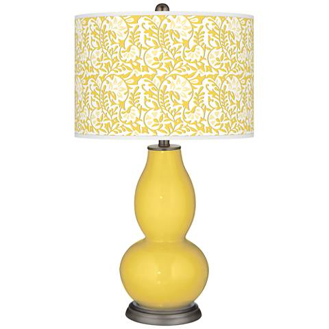 Lemon Zest Gardenia Double Gourd Table Lamp