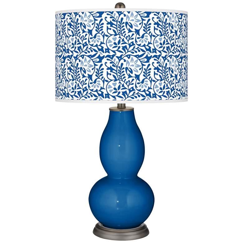 Hyper Blue Gardenia Double Gourd Table Lamp