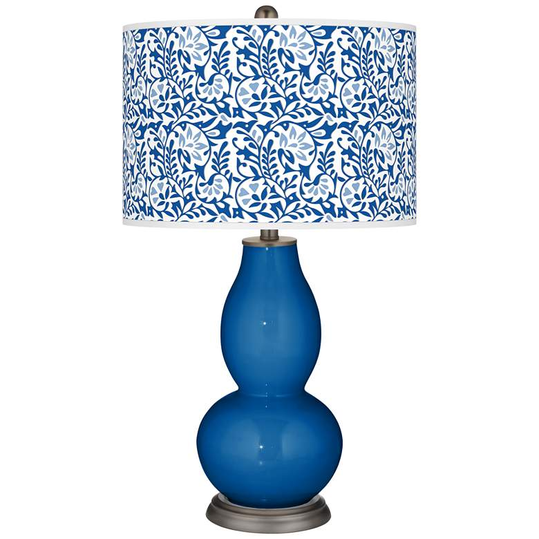 Hyper Blue Gardenia Double Gourd Table Lamp