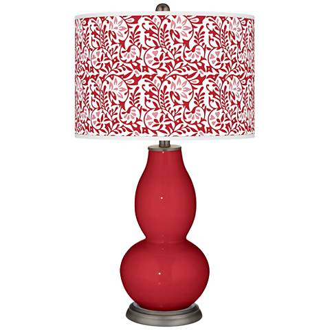 Ribbon Red Gardenia Double Gourd Table Lamp
