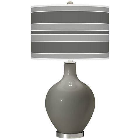 Gauntlet Gray Bold Stripe Ovo Glass Table Lamp