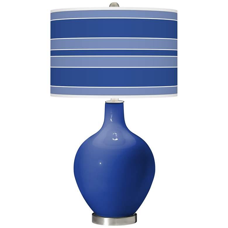 Dazzling Blue Bold Stripe Ovo Table Lamp