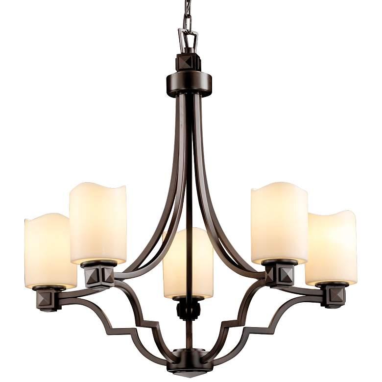 """CandleAria™ Argyle 28"""" Wide Dark Bronze 5-Light Chandelier"""