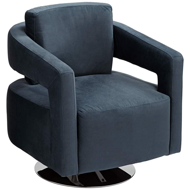 Turbo Slate Blue Open Arm Swivel Chair