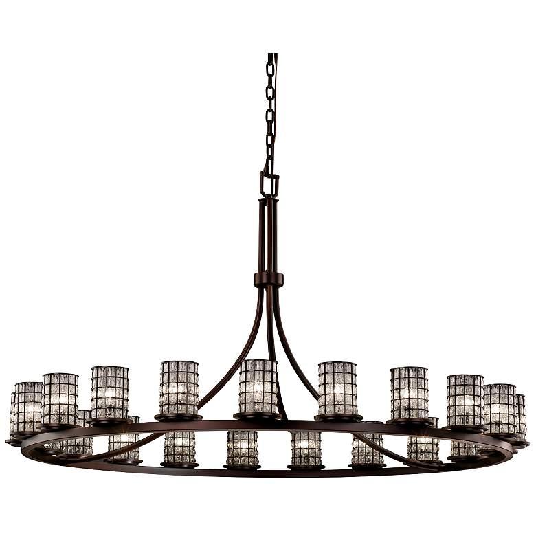 """Wire Glass™ Dakota 60"""" W Dark Bronze 21-Light Chandelier"""