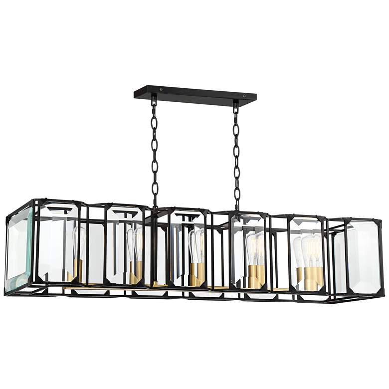 "Dagny 40"" Wide Black and Gold 5-Light LED Island Pendant"