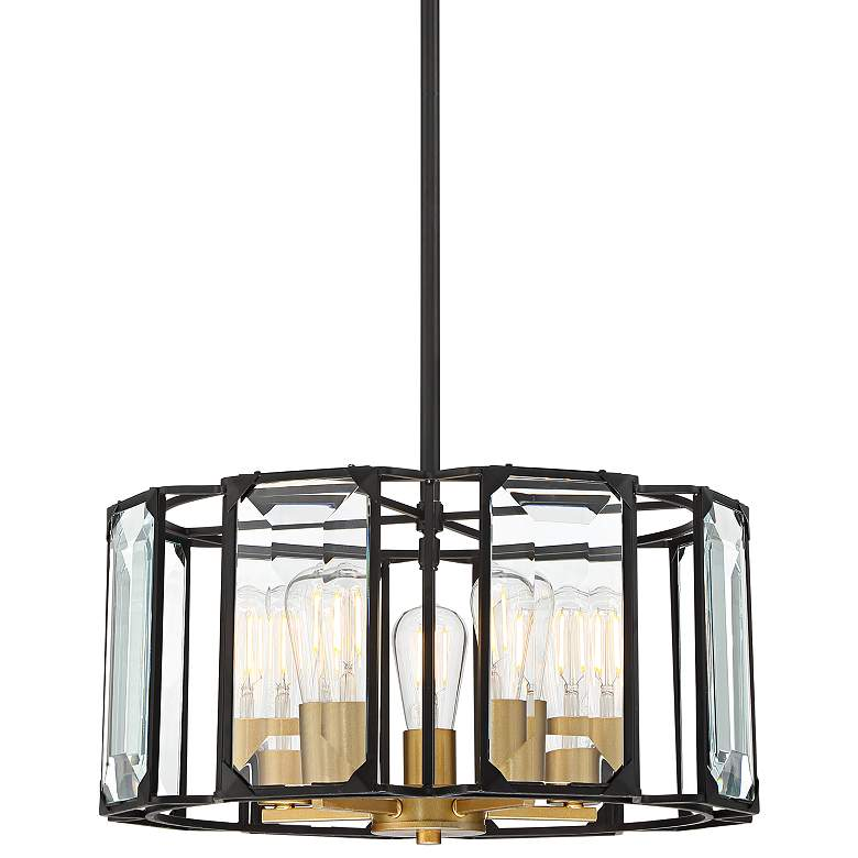 "Dagny 18 1/2""W Black and Gold 5-Light LED Crystal Pendant"