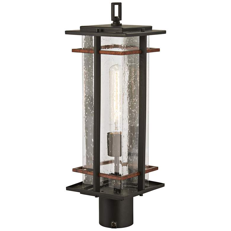"""San Marcos 20 1/2"""" High Black and Copper Outdoor Post Light"""