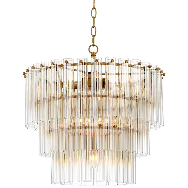 "Agatha 20 1/2"" Wide Antique Gold and Glass Pendant Light"
