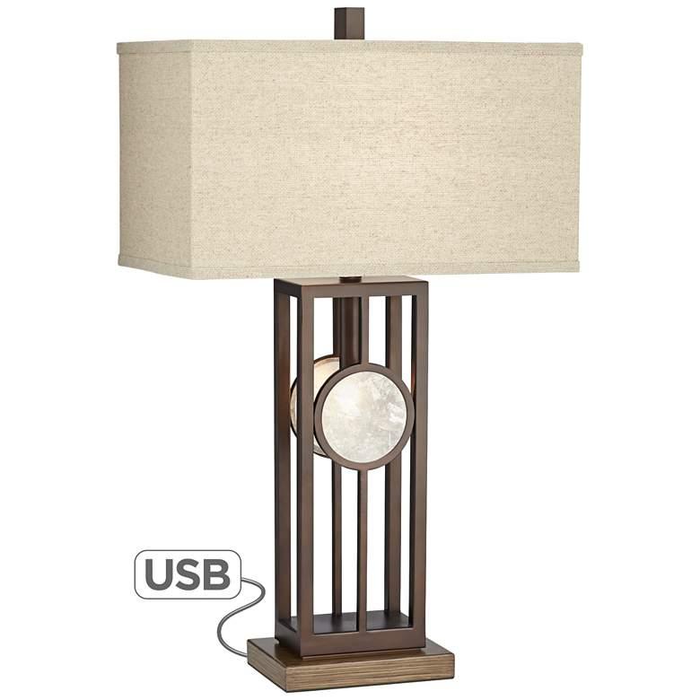 Midland Metal Table Lamp with Night Light and USB Port