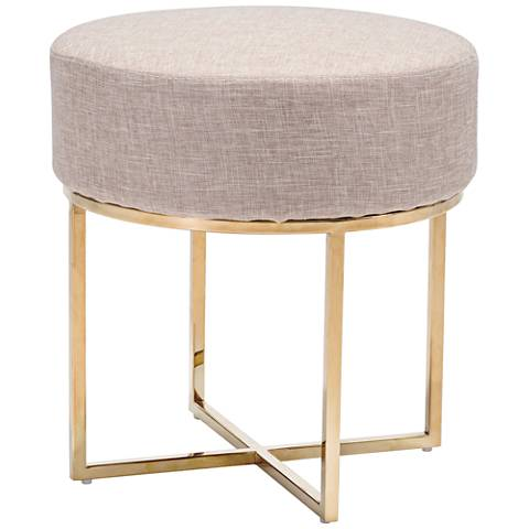 Zuo Bon Beige Fabric Round Accent Stool