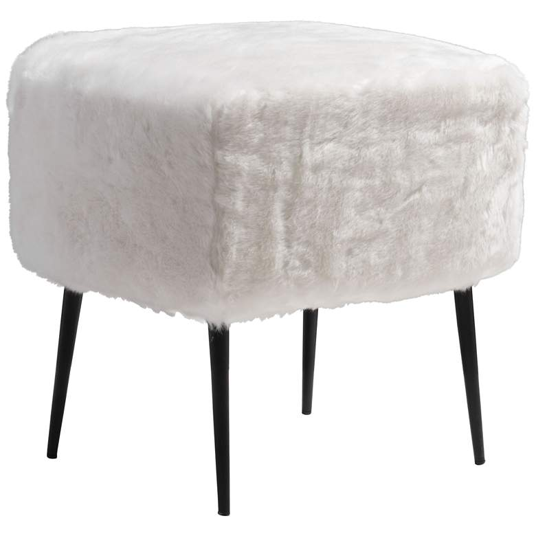 Zuo Fuzz White Faux Fur Square Accent Stool