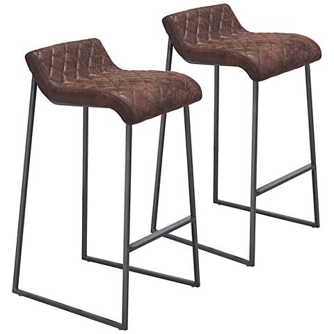 """Father 30 1/4"""" Vintage Brown Faux Leather Barstool Set of 2"""