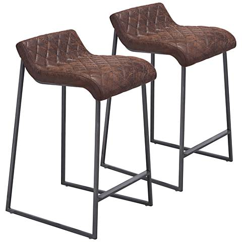 "Father 26 1/2"" Brown Faux Leather Counter Stool Set of 2"
