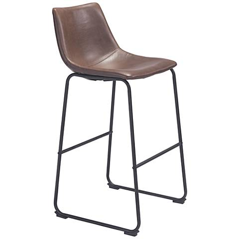 "Zuo Smart 29"" Vintage Espresso Faux Leather Bar Chair"