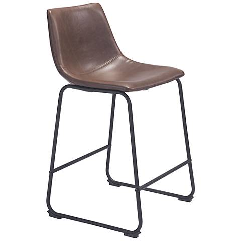 "Smart 24 1/4"" Vintage Espresso Faux Leather Counter Chair"