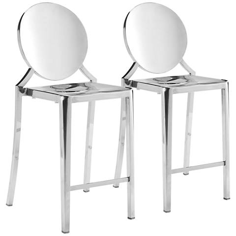 "Zuo Eclipse 24 1/2"" Stainless Steel Counter Chairs Set of 2"