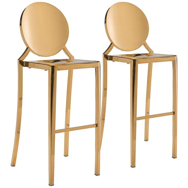 """Zuo Eclipse 30"""" Gold Bar Chairs Set of 2"""