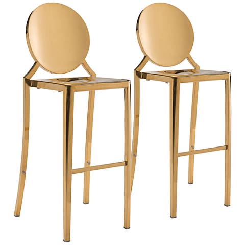 "Zuo Eclipse 30"" Gold Bar Chairs Set of 2"