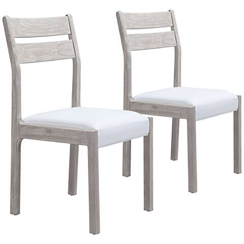Beaumont Sun-Drenched w/ White Leather Dining Chairs Set of 2