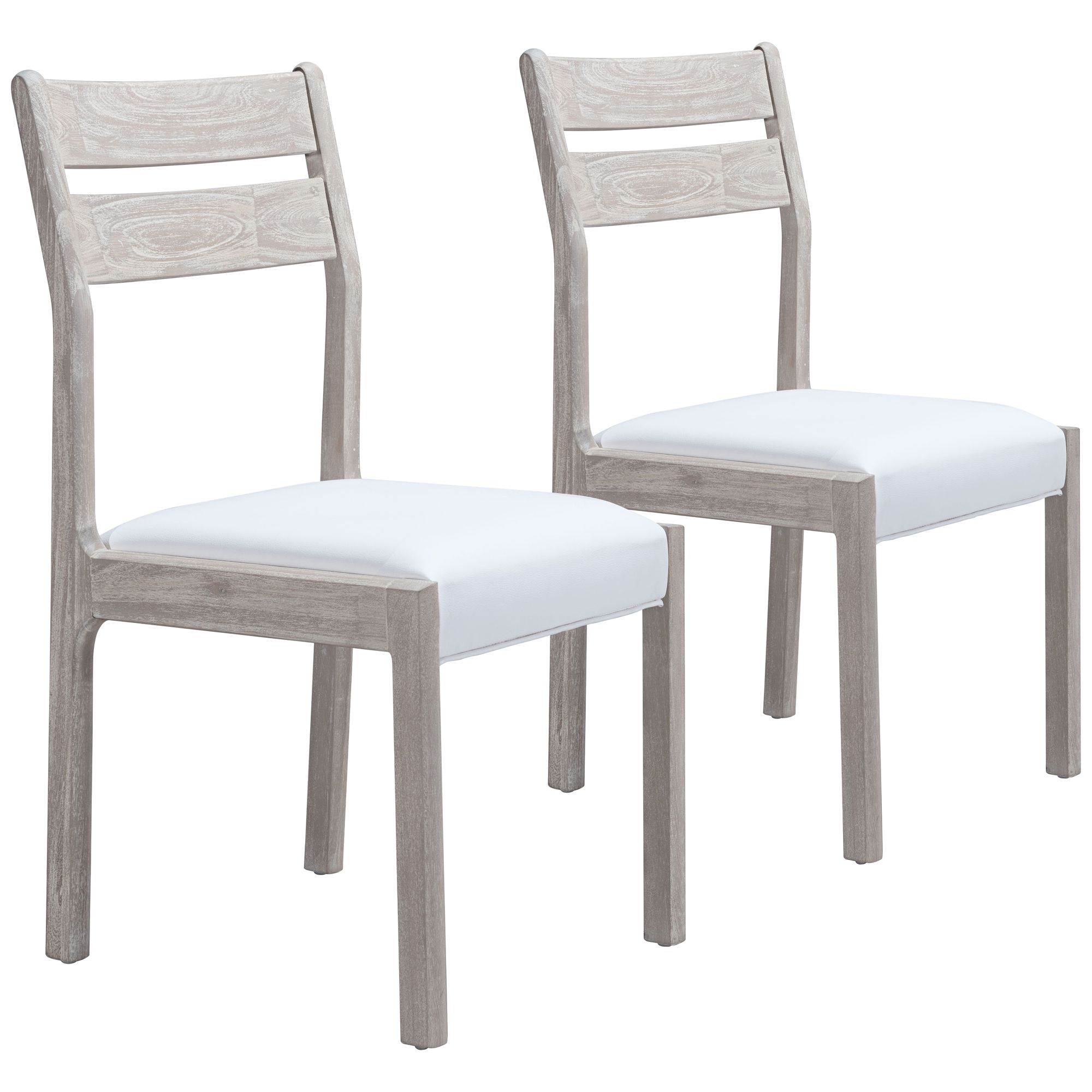 Beaumont Sun Drenched W/ White Leather Dining Chairs Set Of 2