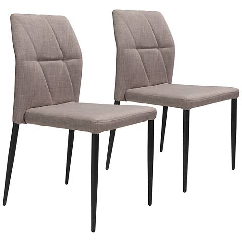 Revolution Beige Fabric Dining Chairs Set of 2