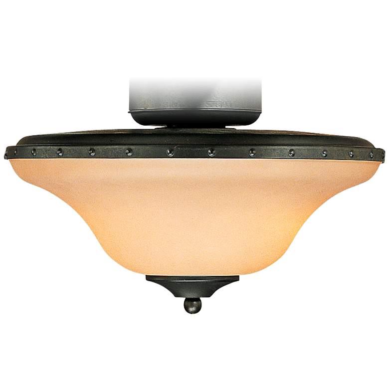 Horseshoe Black Amber Glass Wet LED Ceiling Fan
