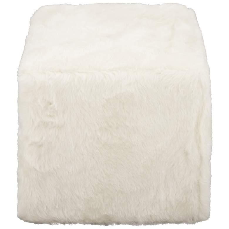 Modern Reflections White Faux Fur Square Pouf Ottoman