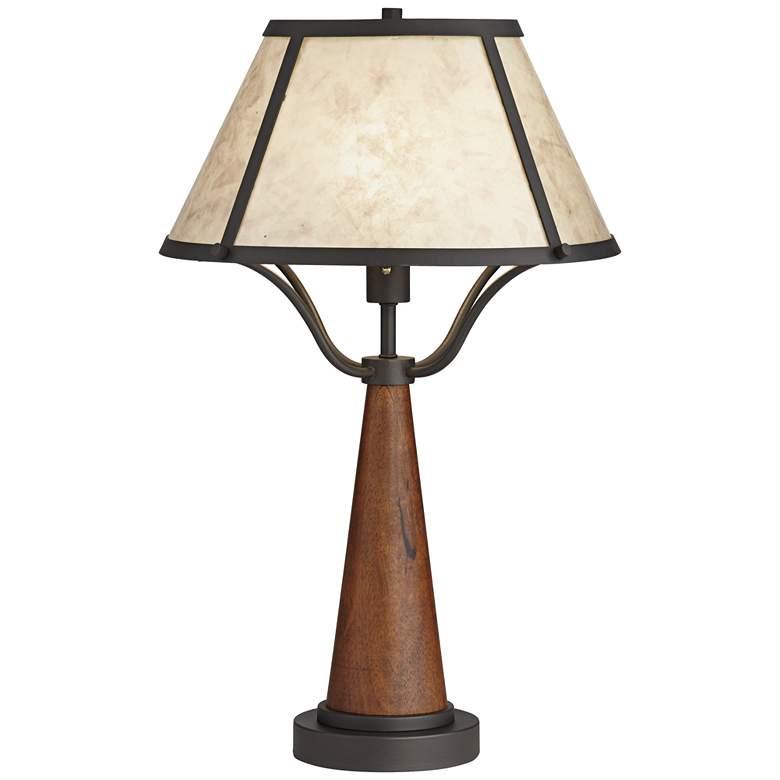 Idyllwild Warm Wood Mica Shade Rustic Table Lamp