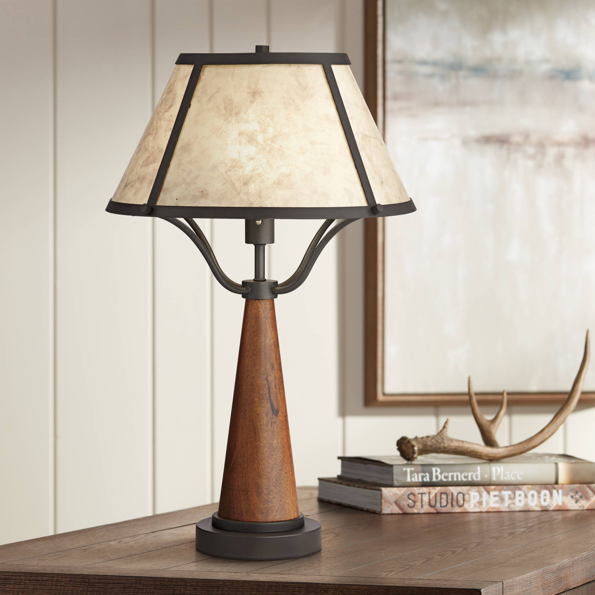 Idyllwild Wood Table Lamp With Mica Shade Ebay