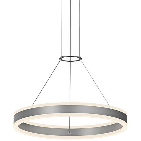 "Double Corona™ 23 3/4""W Satin Aluminum 2-Light LED Pendant"