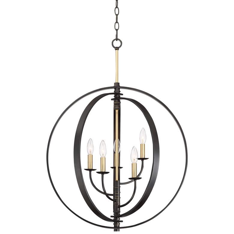"Rialto 24 3/4""W Bronze and Warm Brass 5-Light Orb Pendant"