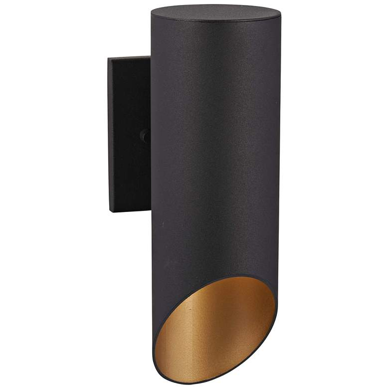 """Pineview Slope 12 1/2""""H Black and Gold Outdoor Wall Light"""