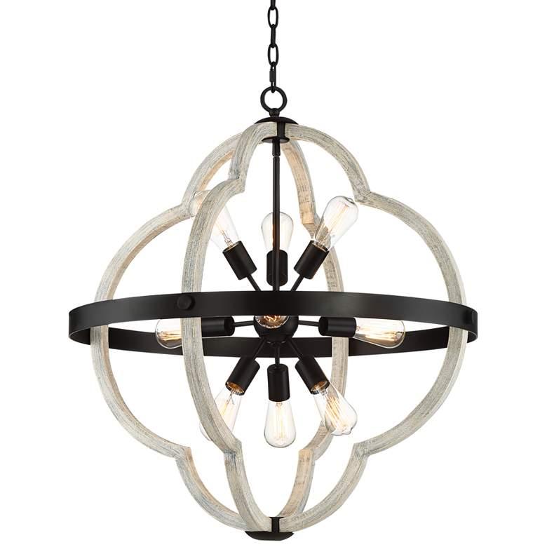 "Paxton 28"" Wide Black and Gray Wood 9-Light Sputnik Pendant"