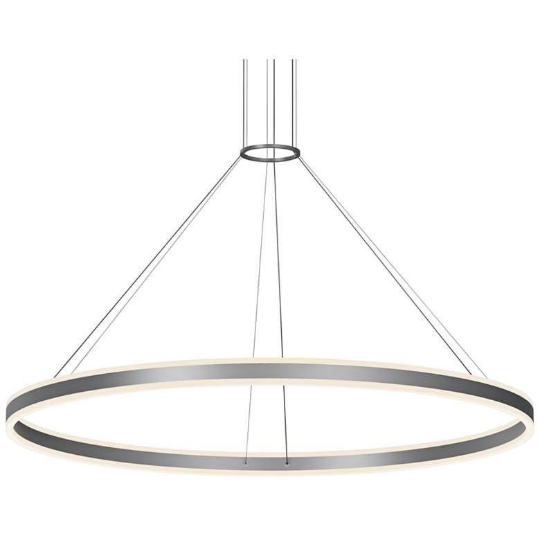 "Double Corona 59"" Wide Satin Aluminum 2-Light LED Pendant"