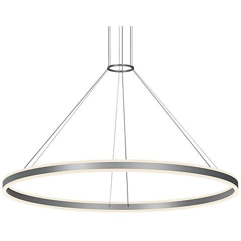 "Double Corona™ 59"" Wide Satin Aluminum 2-Light LED Pendant"