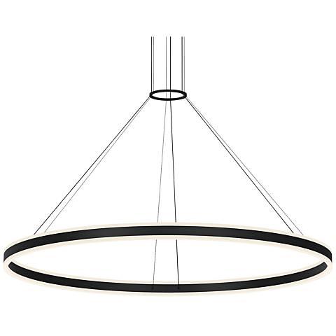 """Double Corona™ 59"""" Wide Satin Black 2-Light LED Pendant"""