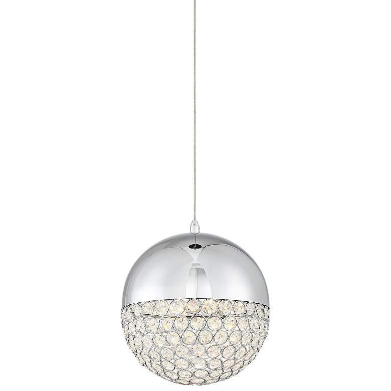 """Possini Euro Gigi 8"""" Wide Chrome LED Crystal Mini Pendant"""
