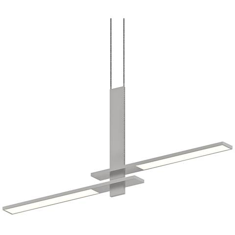 "Planes™ 40 1/4""W Satin Aluminum 2-Light LED Island Pendant"