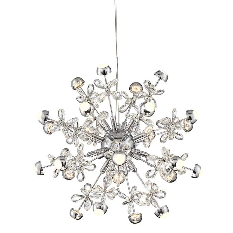 "Noel 23"" Wide Chrome 24-Light LED Crystal Sputnik Pendant"