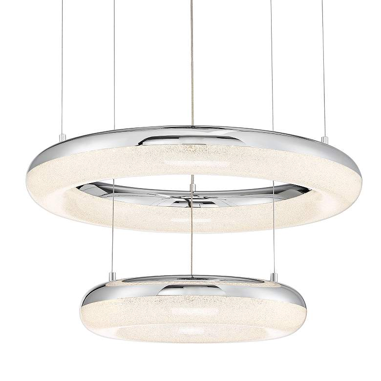 "Halo 23 3/4"" Wide Chrome Double Ring LED Pendant Light"