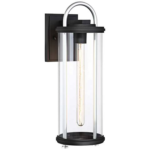 "Keyser 18 1/4"" High Black and Silver Outdoor Wall Light"