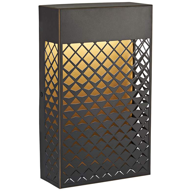 """Guild 11"""" High Bronze and Gold LED Outdoor Pocket Wall Light"""