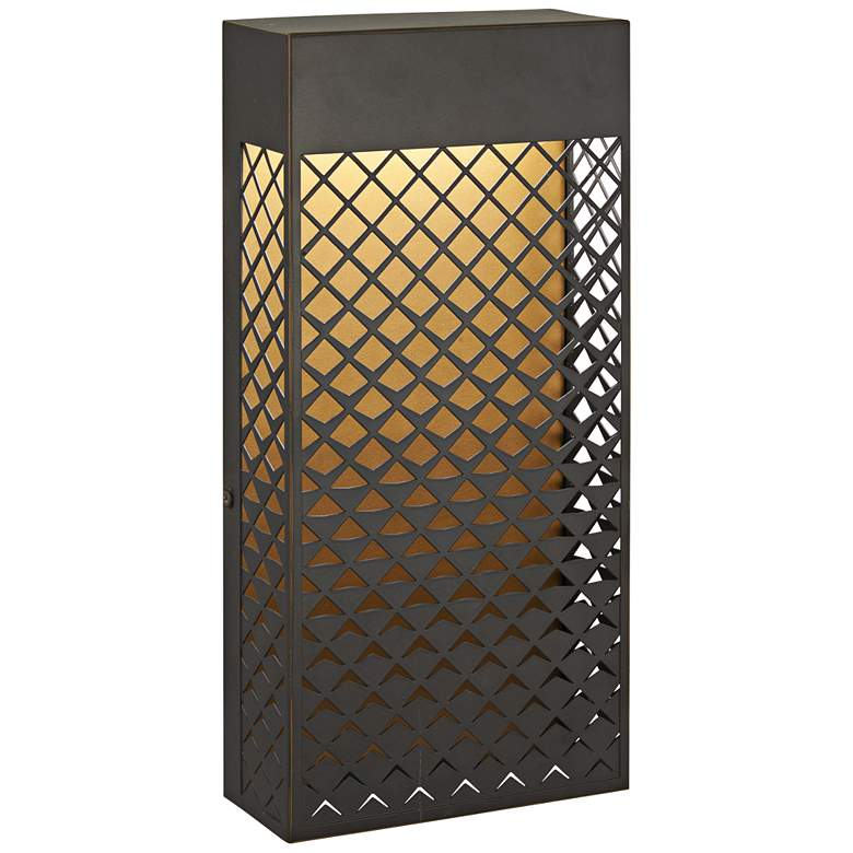 """Guild 14"""" High Bronze and Gold LED Outdoor Pocket Wall Light"""