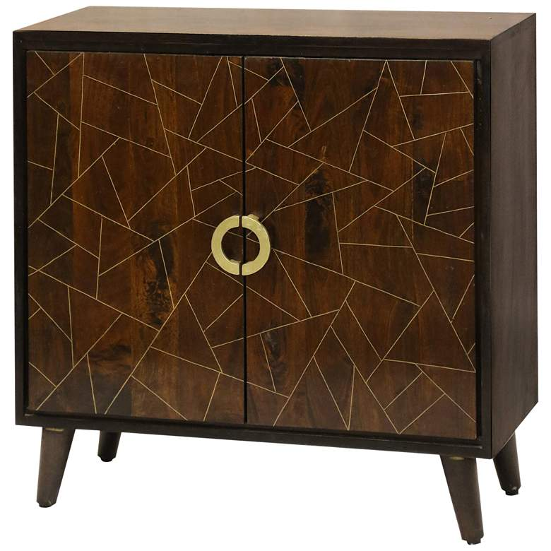 "Geometric 34"" Wide Wood and Brass Modern Cabinet"