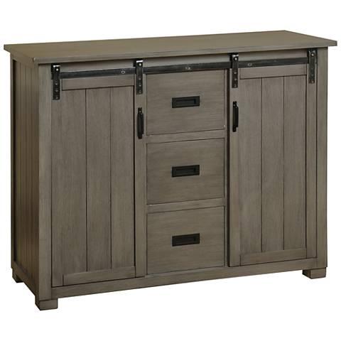 barn door slate gray tv cabinet with 2 sliding doors 53y94 lamps plus. Black Bedroom Furniture Sets. Home Design Ideas