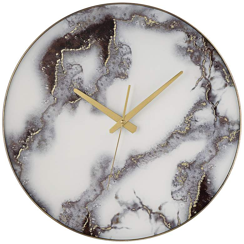 """Albie Black and White 17 3/4"""" Round Marble Clock"""