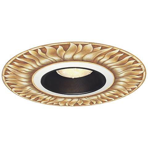 "Juno 6"" Black Recessed Trim with Florentine Sun Medallion"